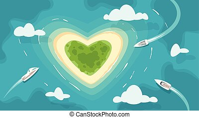 tropical heart shaped romantic island - Vector cartoon style...