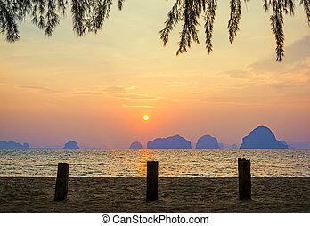tropical, hermoso, playa, ocaso