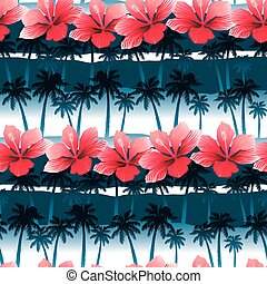 Tropical hibiscus flowers in a seamless pattern with blue palm trees
