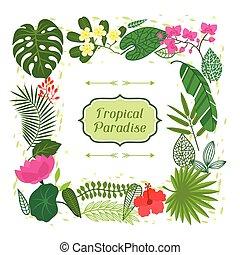 tropical, hojas, estilizado, flowers., paraíso, tarjeta