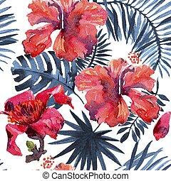 tropical, hojas, verdor, plano de fondo, acuarela, fondo., ...