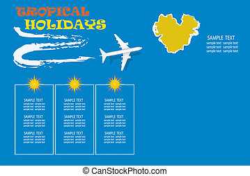 Tropical holidays concept with an airplane flying over the island in the ocean.