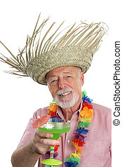 tropical, hombre mayor, y, margarita