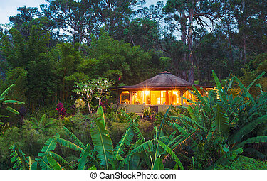 Tropical Home in the Jungle at Sunset