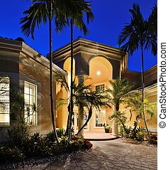 Tropical Home - Mansion entrance in a tropical location.