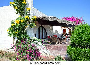 tropical, hotel, bungalow, lujo