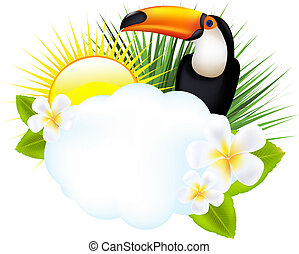 Tropical Illustration With Toucan, Isolated On White...