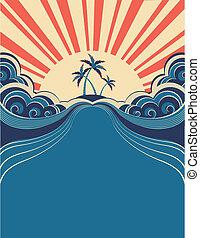 tropical, ilustración, sol., plano de fondo, palmas, vector