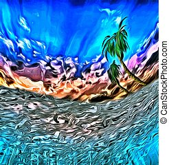 Tropical island - Abstract digital painting. View from...