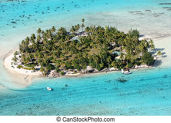 Tropical Island - Aerial view of a small island near Bora...