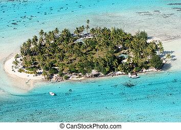 Tropical Island - Aerial view of a small island near Bora...