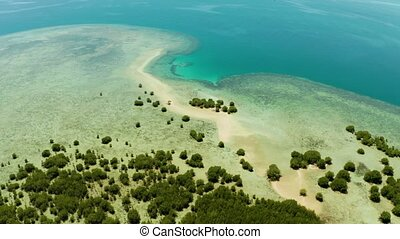 Tropical island and coral reef, Philippines, Palawan -...