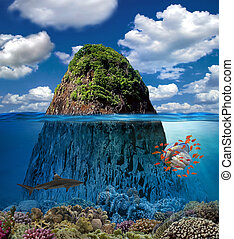 Tropical Island And Coral Reef Split View With Waterline
