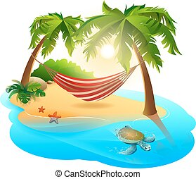 Tropical island and hammock among palm trees. Isolated on ...