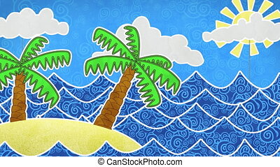 tropical island and palms loop