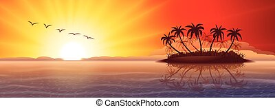 Tropical island at sunset - Panoramic nature background with...