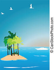 tropical island background vector illustration