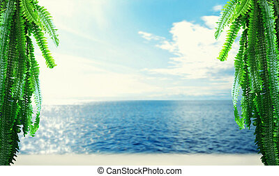 Tropical island, beach, sea, sky and palm branches. Spa, ...
