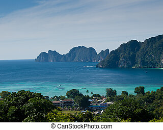 View from the highest point of Ko Phi-Phi island in Thailand