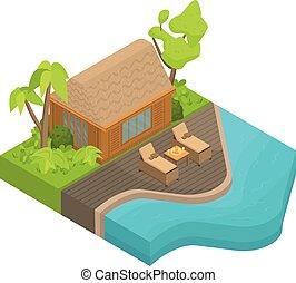 Tropical island house icon, isometric style