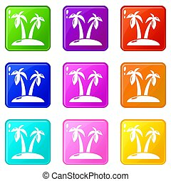 Tropical island icons set 9 color collection