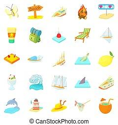 Tropical island icons set, cartoon style