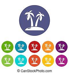 Tropical island icons set color