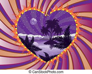 Tropical island in a heart