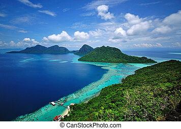 Malaysia Sabah Borneo scenic view taken from the peak of Bohey Dulang Island in Tun Sakaran Marine Park.
