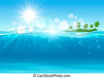 Tropical island in the ocean for background design