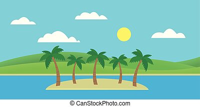 Tropical island in the sea with sandy beach and palm trees under blue sky with clouds and sun