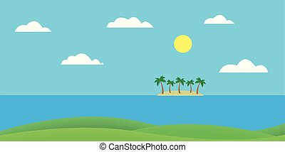Tropical island in the sea with sandy beach and palm trees under blue sky with clouds and sun - vector