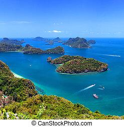 Tropical island nature, Thailand sea archipelago aerial...
