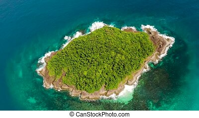 Tropical island on coral reef, top view.