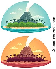 Tropical Island on White
