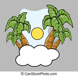 Tropical Island Over Cloud - Vector
