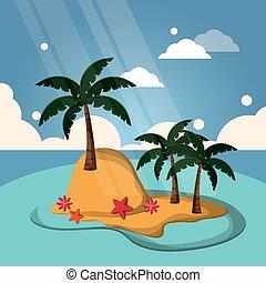 tropical island palm sunlight starfish flower landscape