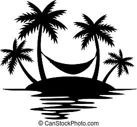 Tropical Island, Palm Trees and Hammock (Summer Design, Beach Silhouette).