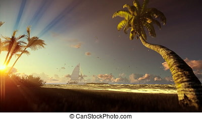 Tropical island, palm trees and yacht sailing, woman running on the beach at sunrise