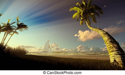 Tropical island, palm trees blowing in the wind and yacht sailing, sunrise
