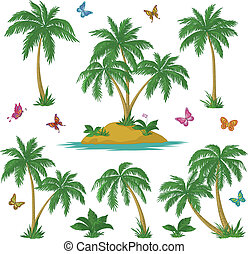 Tropical island, palms and butterflies