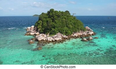 Tropical island paradise. Aerial drone view. Stock footage b-roll in 4k resolution