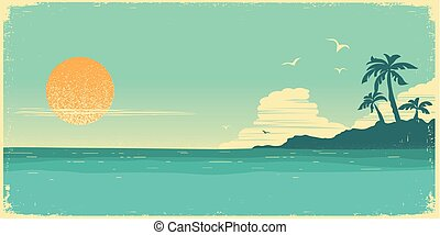 Tropical island paradise. Vintage poster background with palms silhouette and blue sky and sun