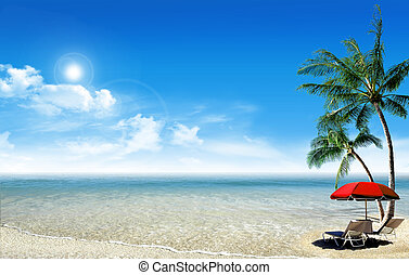 Tropical island: ocean sea and little tropical beach with...