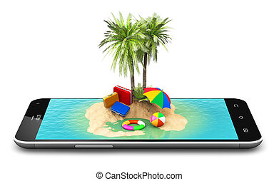 Tropical island resort on smartphone screen