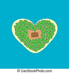 Tropical island shape heart bungalows - Tropical island in...