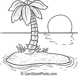 Doodle style tropical or deserted island with palm tree and sunset in vector format.