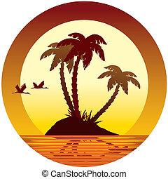 Tropical island - Tropical vacation: sunset, island, palms...