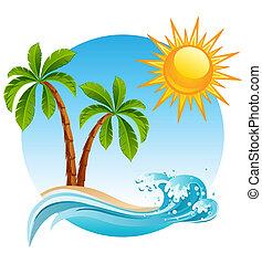 Tropical island - Two palm-tree on the tropical island
