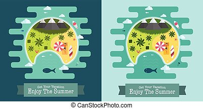 Tropical Island Vacation Postcard